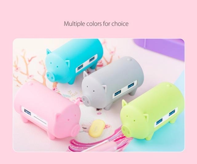 Cute Pig Cartoon USB Hub
