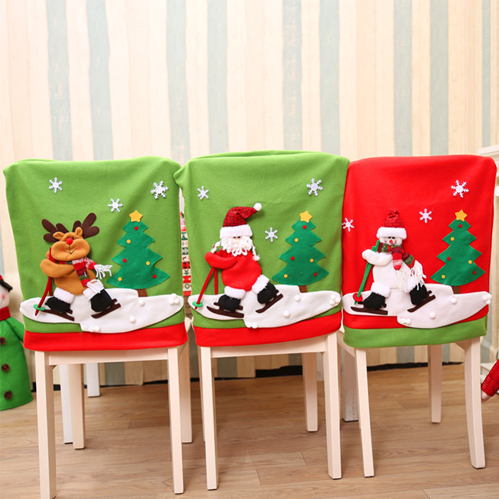 Christmas chair covers - Decorative Santa Claus Snowman Chair Cover Brushed Fabric Christmas Dinner Table Party Red Hat Chair Back