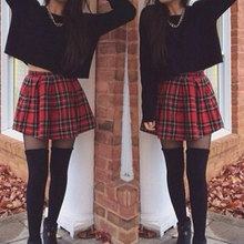 Womens Retro High Waist Skirt Contrast Red Check Print A-Line Mini Skirt Scotland Plaid Stylish Vestido Girl Cheerleader Uniform(China)