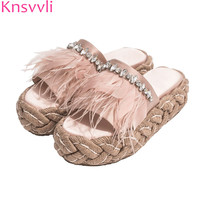 2019 New Thick sole Women slippers pink satin rhinestone Feather slippers Female Straw sole Mules Summer Platform Shoes Women