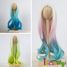 Doll Wigs Heat Resistant Synthetic Long Curly Green Pink Blue Ombre Color Hair for 1/3 1/4 1/6 BJD/SD Dolls doll wigs hair heat resistant synthetic wire long afro curly white pink green blue ombre color wigs for 1 3 1 4 1 6 bjd sd dolls