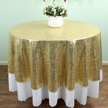 Premium Quality 50 Inches Round Sequin Tablecloth/Overlay Shiny Light  Gold(China)