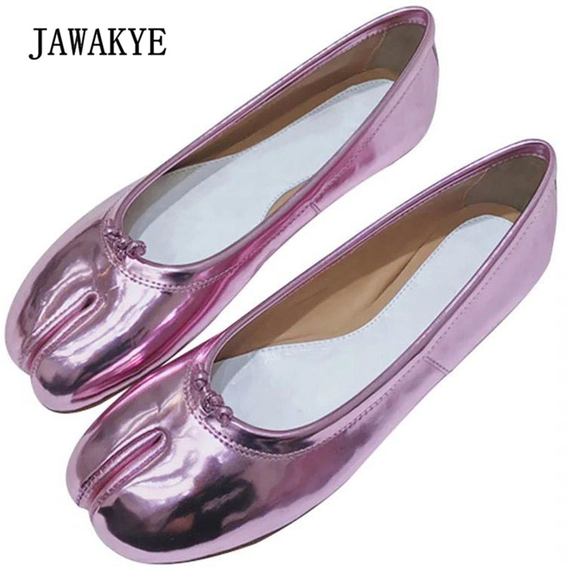 2018 Purple Pink Mirror Split Toe Flat Shoes Woman Genuine leather Beige Silver Single Shoes Femme Runway Zapatos Mujer
