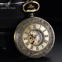 Luminous Rome Style Automatic Self Wind Mechanical Pocket Watches For Men Women w 36cm Chain Luxury Brand Fashion Antique Gift