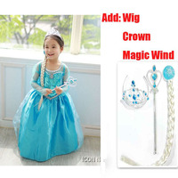 Tiang Prenses Kız Bebek Çocuk Elbise Kız Anna Anna Elsa Vestidos Cosplay Parti Çocuklar Için Elbiseler Doğum Günü Giysileri Taç Set