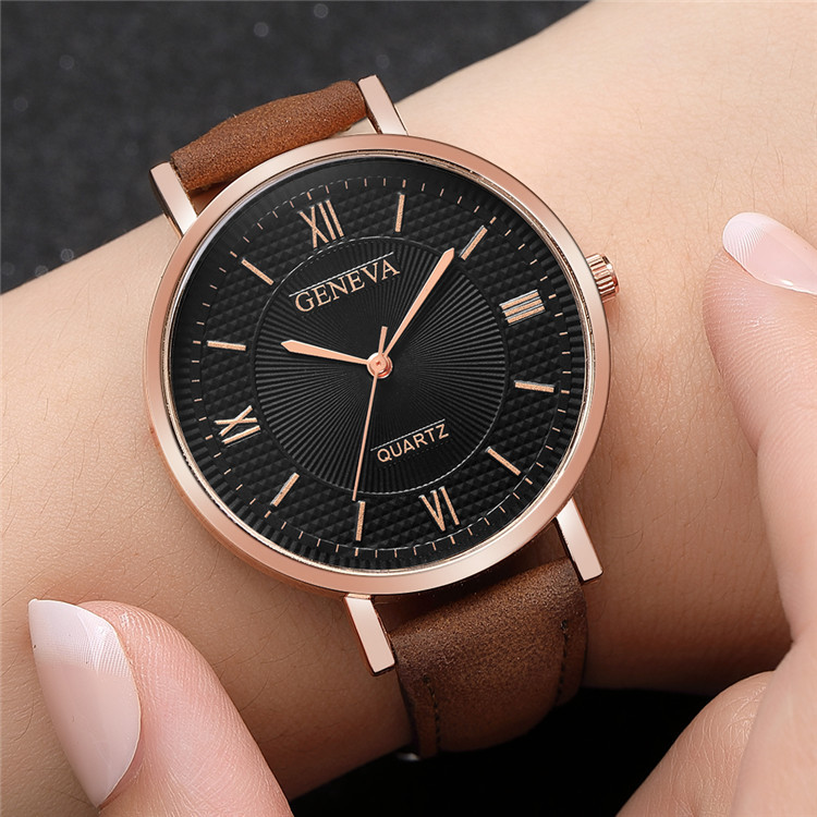 Женские Модные кварцевые часы, кожаный ремешок, коричневые, черные наручные часы в стиле ретро, Женские винтажные часы, 2019