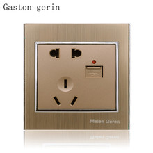 Standard Wall Power Socket USB Port Luxury Brushed Gold Panel with Indicator 10A AC 220V Outlet Mounted 86mm Aluminum Alloy