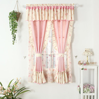 ピンクのカーテン生地用リビングルームブラックアウトカーテン女の子カーテンパターンレースショートウィンドウパネル花素朴な短いカーテン結婚式