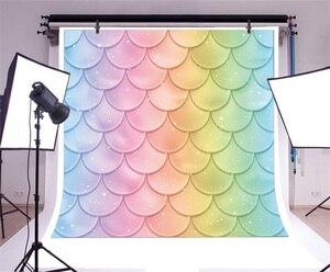 Image 3 - Laeacco fondos de fotografía de princesa sirenita, escamas de peces de arco iris, burbujas, Baby Shower, sesión fotográfica para recién nacido