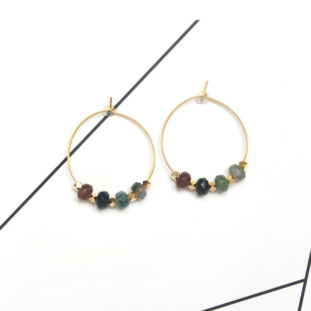 Gold Fashion Jewelry 2018 Boho Hoop Earrings Handmade Colorful Indian Stone For Women Gift