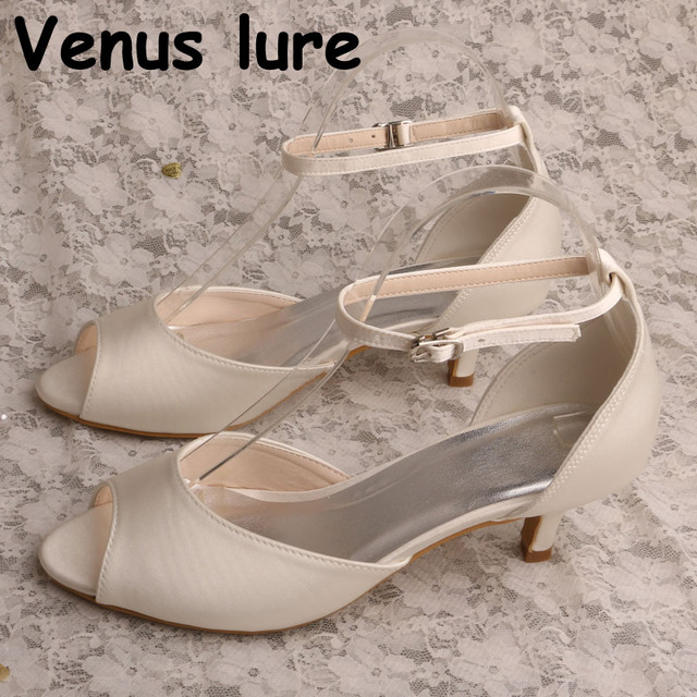 a18b06d40e83 New Brand Peep Toe Satin Off white Wedding Shoes Vintage Bridal Sandals Low  Heeled