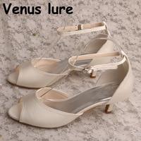 New Brand Peep Toe Satin Off white Wedding Shoes Vintage Bridal Sandals Low Heeled