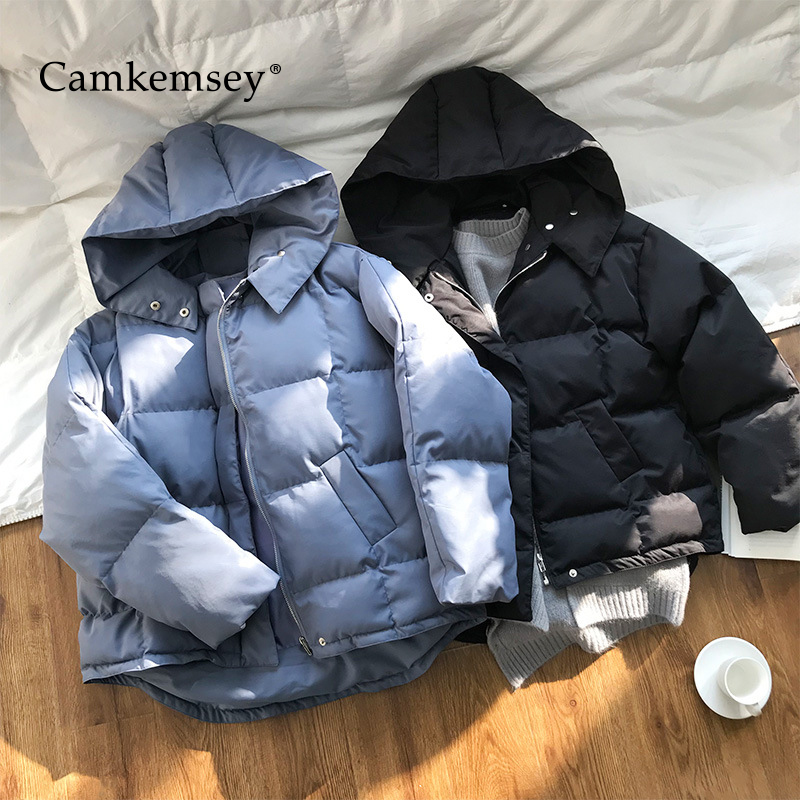 CamKemsey Thick Warm Winter Coats Women 2019 Fashion Solid Down Cotton Padded Hooded Winter Jackets Female   Parkas
