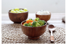 Natural Jujube Wooden bowl Round Salad Bowl Kitchen Bamboo Handmade Children Fruit Rice Cup Soup Salad