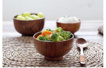 Natural Jujube Wooden bowl Round Salad Bowl Kitchen Bamboo Handmade Children Fruit Rice Cup Soup Salad