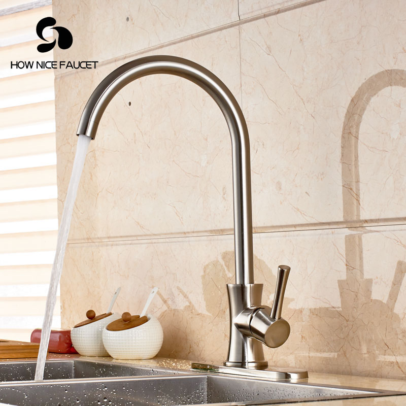 ФОТО Widespread Deck Mount Brushed Nikcle Kitchen Sink Faucet Mixer Tap Swivel Spout One Hole