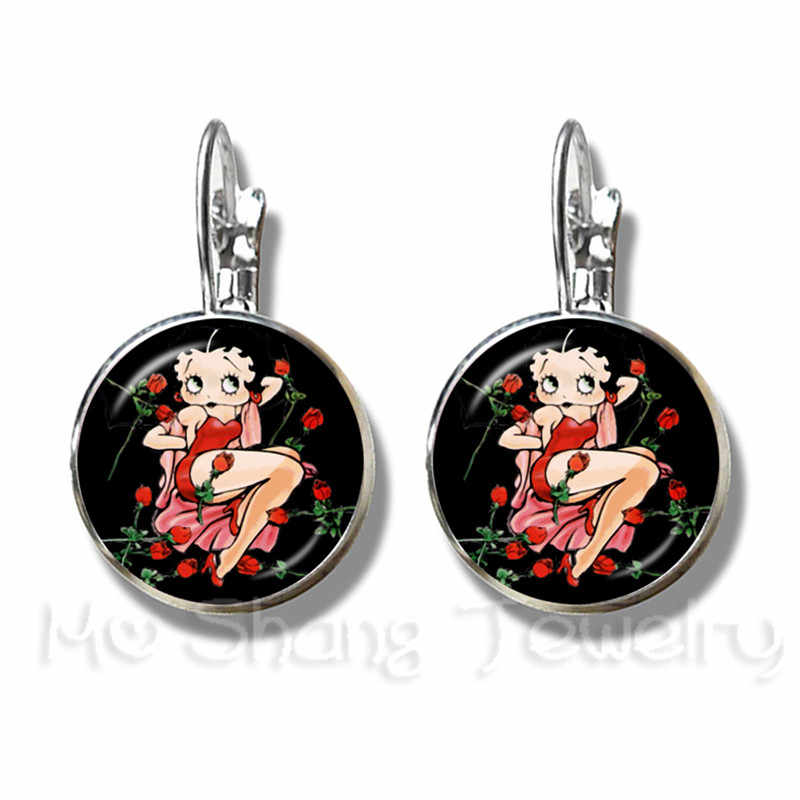 2018 New Sexy And Lovely Betty Boop Pattern Earrings Charm 16mm Glass Dome Handmade Stud Earrings Jewelry For Women Gift