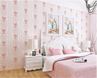 Beibehang phong cách Hàn Quốc mục vụ nhỏ vải không dệt sọc dọc tường phòng ngủ giấy phòng hôn nhân nền 3d hình nền