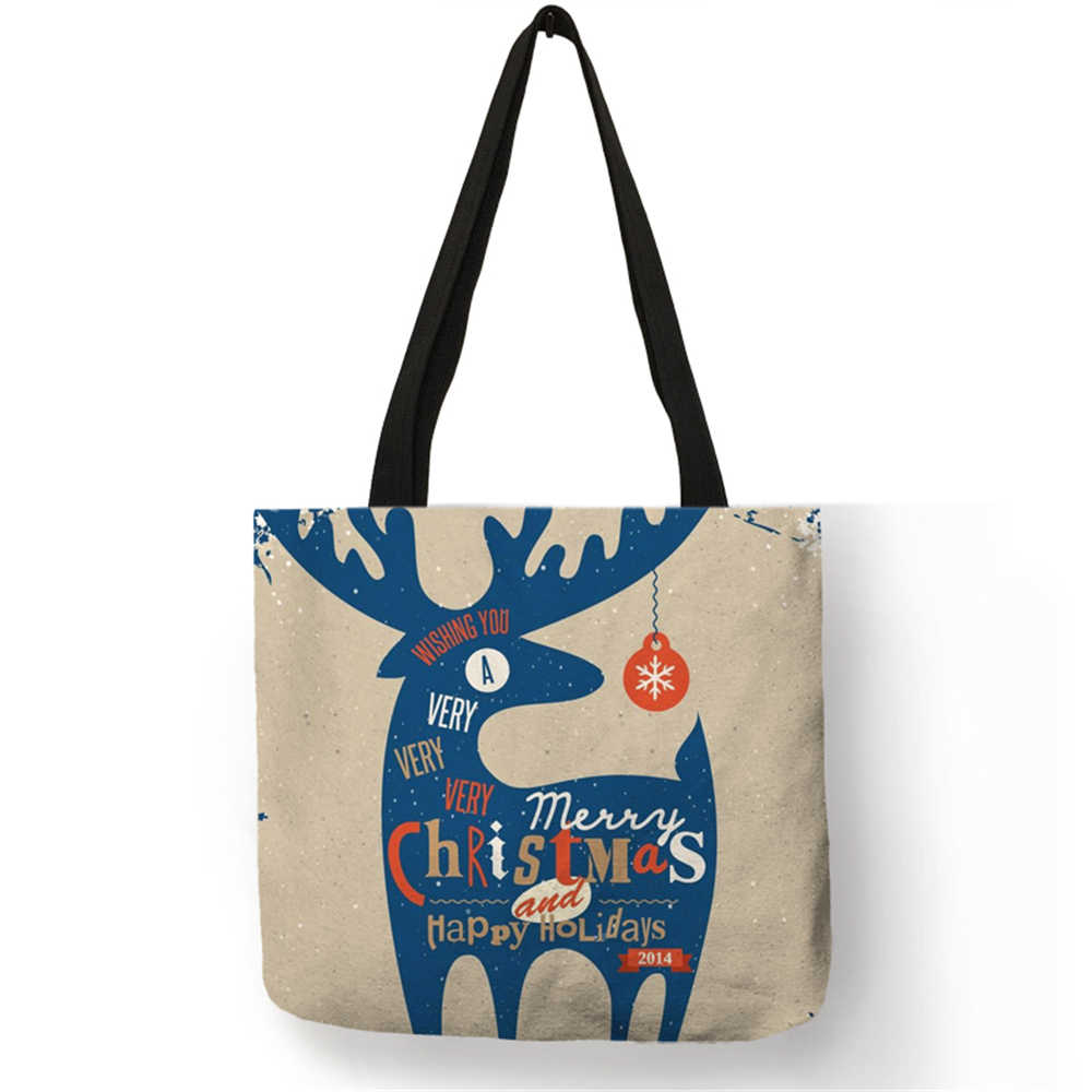0edba069007e ... Customized Father Christmas Print Linen Bag Snowman Deer Xmas Gifts  Pattern Reusable Shopping Bag Candy Bags ...