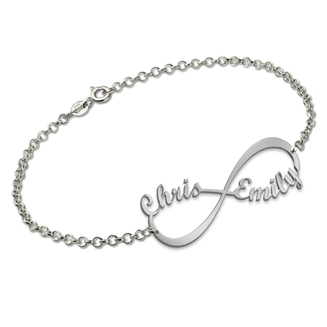 Sterling Silver Infinity Name Bracelet Personalized For Women Gifts Custom