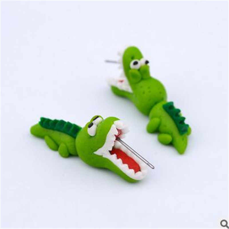 2016 Handmade Polymer Clay Crocodile Dinosaur Stud Earring For Women Animal Earrings Fine Jewelry Fashion Girl Earring 1 pair