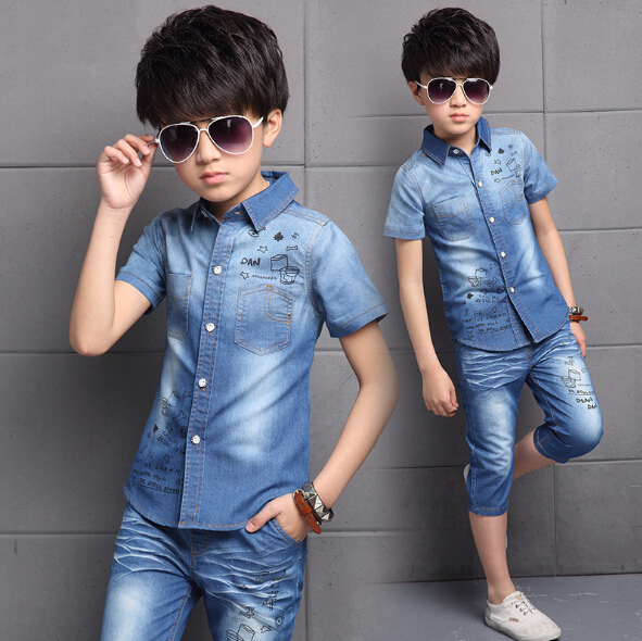 Summer Teenagers Boys Fashion Denim Clothing Set Children Casual Sports Suit Kids Clothes Short Sleeve Tops + Pants 2pcs Outfits family fashion summer tops 2015 clothers short sleeve t shirt stripe navy style shirt clothes for mother dad and children