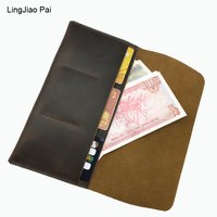 LingJiao Pai Travel Hommes Genuine Leather Card Purse Wallet Handmade Leather Purse