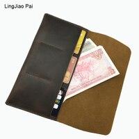 LingJiao Pai Travel Hommes Genuine Leather Card Purse Wallet Handmade Leather Purse