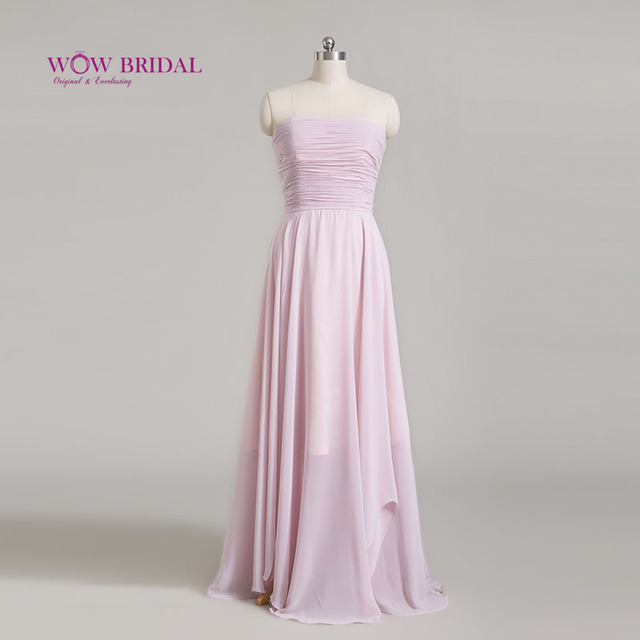 Wowbridal Chiffon Bridesmaid Dresses Long Real Picture Sleeveless Bridesmaid Dresses Cheap Wedding Party Dresses Under 50