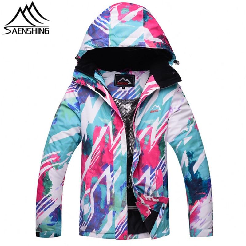SAENSHING Ski Jacket Women 2018 New Waterproof Snowboard Jacket Breathable Colorful Ski Jacket Girls Thicken Warm 3XL Coats Male