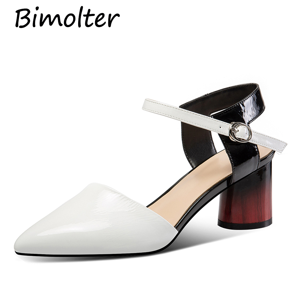 Bimolter Heels Women Pumps Two Piece Thick Heels Ladies Party Shoes Genuine Leather Ankle Strap Footwear Zapatos Mujer NC089 in Women 39 s Pumps from Shoes