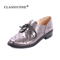 Women Shoes Woman Scoop Spring Autumn Flats With Genuine Leather Fashion Brand Lace Up Decoration Luxury