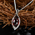 Hot sale new fashion Brand new sterling 925 silver red garnet necklace thai silver eye shape chain necklace jewelry women gift