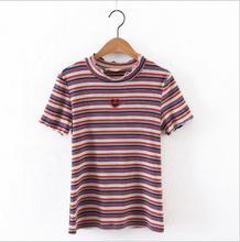 Corea moda retro color amor bordado hueco de manga corta Camiseta marea femenina
