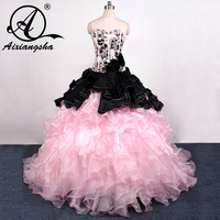 2016 Hot Sale Ball Gowns Backless Beaded Pink And Black Quinceanera Dresses For Girl Sweet 16