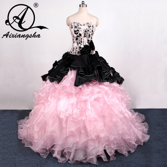2018 Hot Sale Ball Gowns Backless Beaded Pink and Black Quinceanera ...