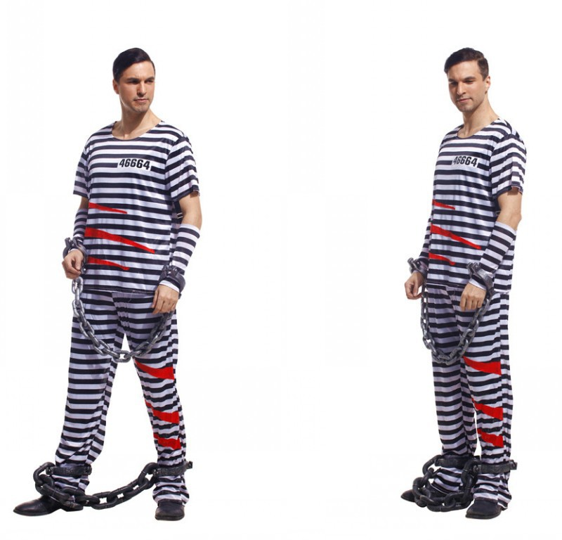 Party Clothing Style Costume for Men  Prisoner Strip Costumes