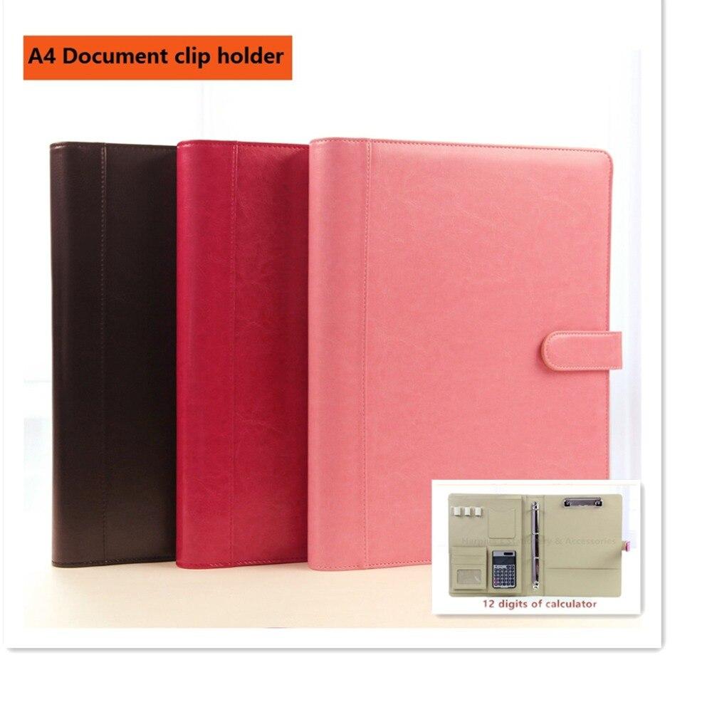 A4 classique cuir gestionnaire dossier document porte-fichiers avec clip solide bouton calculatrice magnétique snap