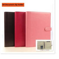 A4 Classical Leather Manager Folder Document File Holder With Clip Solid Button Calculator Magnetic Snap