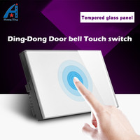 HuangXing UK Standard Touch Doorbell Switch Smooth White Gold Tempered Glass Panel Wall Switch With LED