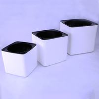 Large Size30 CM Margic Square Lazy Self Absorption Water Creative Personalized Porcelain Plastic Flower Pot For