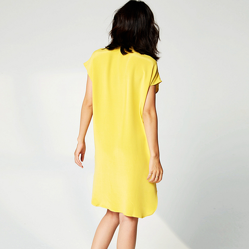 High Quality Dress Women 100% Heavy Silk Simple Design O Neck Drop-shoulder Batwing Sleeve Straight Loose Dress New Fashion 2019