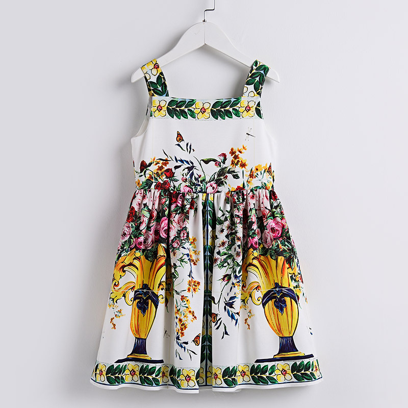 Summer brand new children Sicily clothes girl sleeveless flower vase Print fashion Dress kid 100-160cm girls beach sling Dresses slingshot wood catapult for hunting outdoor high quality premium ebonyslingshots shooting games with flat rubber band