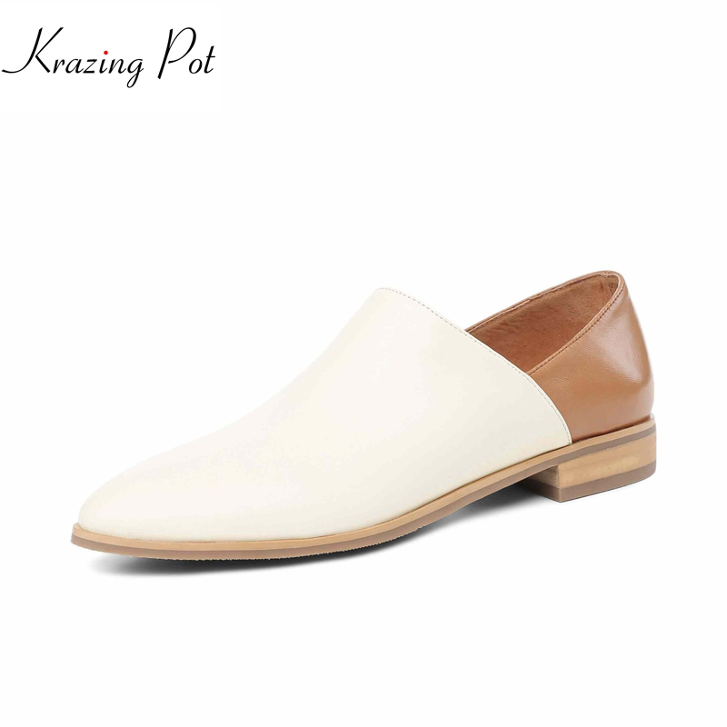 Krazing pot 2018 genuine leather brand shoes fashion solid women pumps low heels round toe slip on simple lazy style shoes L03 krazing pot fashion brand shoes genuine leather slip on pointed toe concise lazy style strange high heels women cozy pumps l73