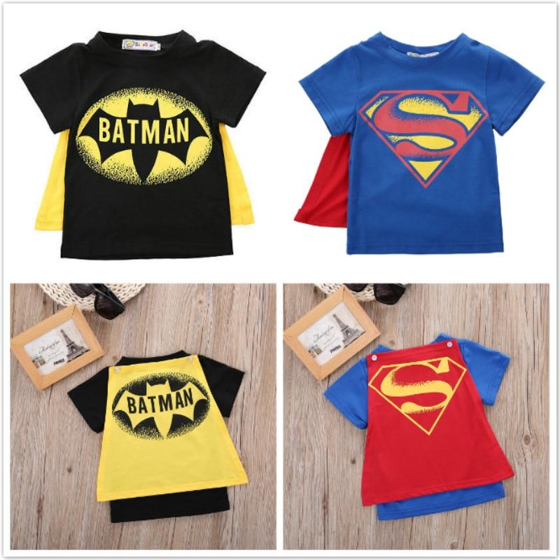 Black Batman Blue Superman Cape Boys T Shirts Baby Boys Clothes Kids Toddler Boys Short Sleeve