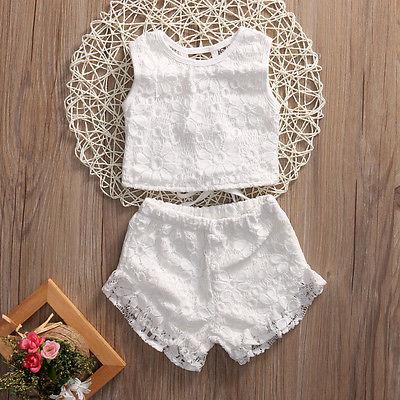 цены Cute Girls Kids Summer Outfits Clothes White Lace Crochet Vest Tops Shorts Briefs Set Clothes Back Bandage Clothing 2-7Y