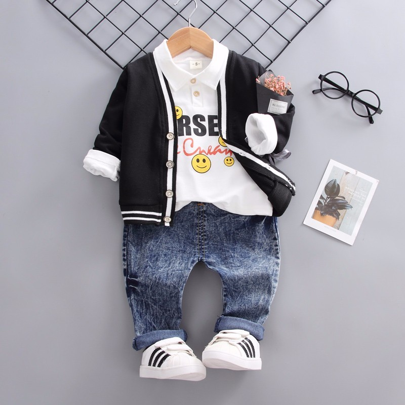 Baby Boys Girls Spring Autumn Clothing Sets Infant Clothes Suits Smiley Face Lapel T Shirt Coats Pants 3pcs Kid Children CostumeBaby Boys Girls Spring Autumn Clothing Sets Infant Clothes Suits Smiley Face Lapel T Shirt Coats Pants 3pcs Kid Children Costume