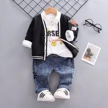 Baby Boys Girls Spring Autumn Clothing Sets Infant Clothes Suits Smiley Face Lapel T Shirt Coats Pants 3pcs Kid Children Costume pants kotmarkot 20155 children clothing for girls kid clothes