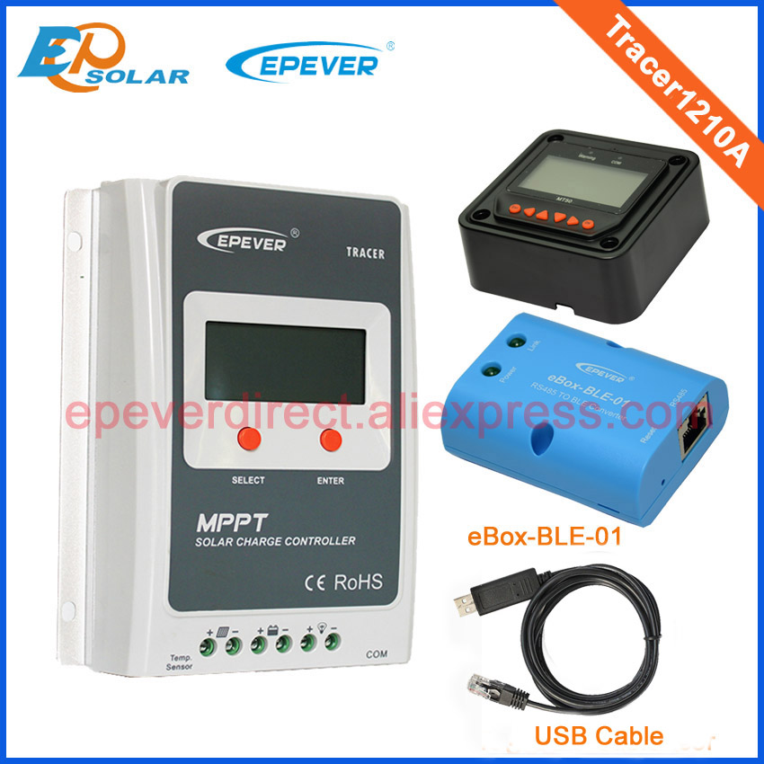 MPPT solar regulator bluetooth box 10A Tracer1210A built in lcd display with black MT50 and USB wavelets in a box
