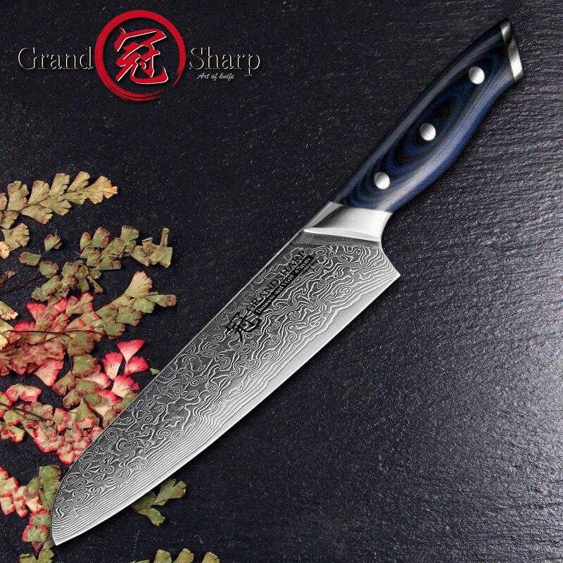 Grandsharp 6 5 Inch Damascus Kitchen Knife 67 Layers Japanese Santoku Knife Japanese Damascus Stainless Steel